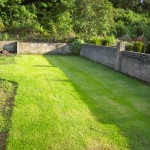 The lawn is completed using four batches and three different types of turf over a period of five weeks. This is only three weeks after completion and the different ares are hardly noticable already.s