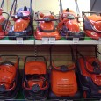 Rotary lawnmowers on display in a mower showroom