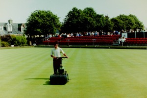 Mowing one of the Northfield greens between the morning and afternoon games in the Ladies World Championship