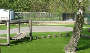 Artificial grass in a playground